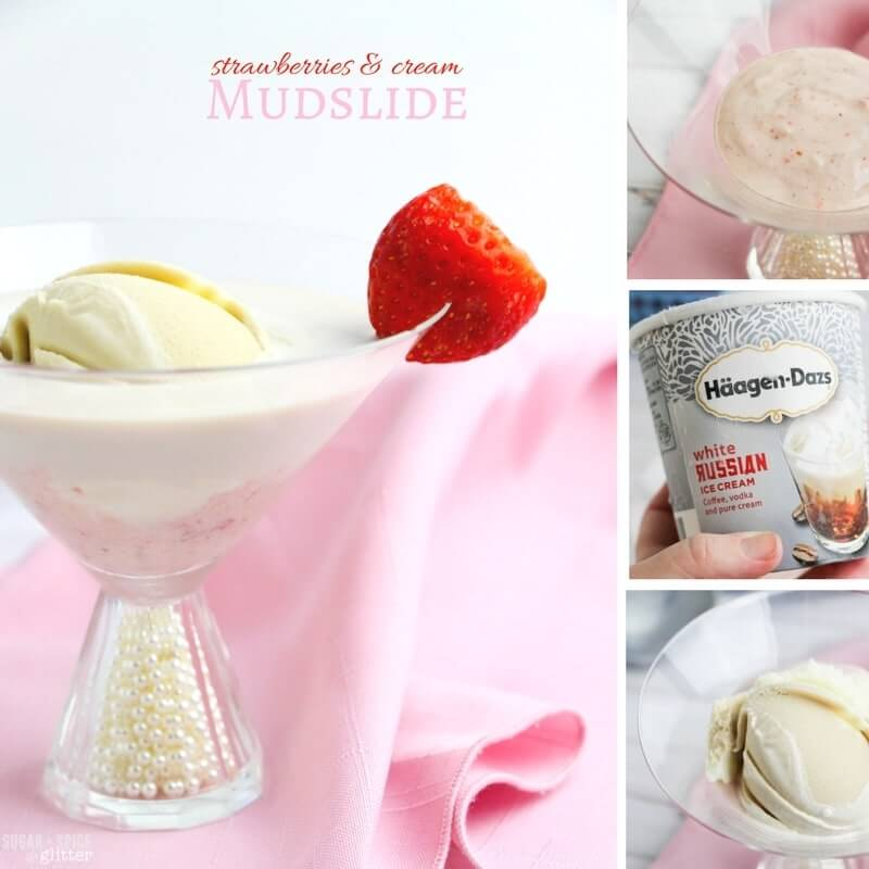How to make a Strawberries & Cream Mudslide - three cocktails in one, this ice cream dessert cocktail gives you the best of both worlds - desserts and drinks