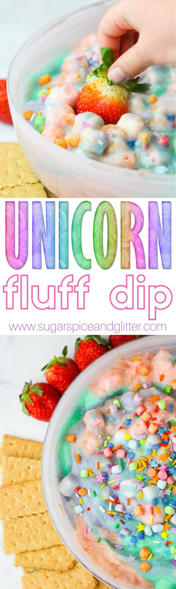 A light and fluffy vanilla-marshmallow fruit dip sprinkled with unicorn magic. Perfect for a unicorn party or playdate, or you can customize the colors and sprinkles to any other party theme!