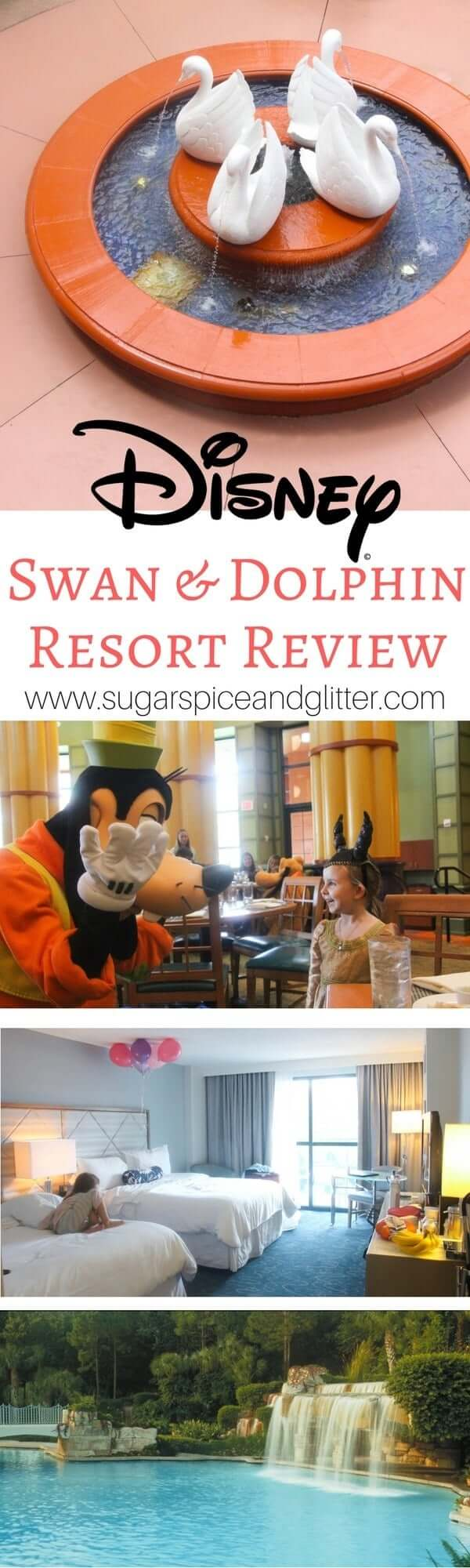 An honest and in-depth review of the Swan and Dolphin resort by a Disney mom. The food, the character meals, the pool complex, entertainment and more - this mom shares the good and the bad about her experience at the Swan