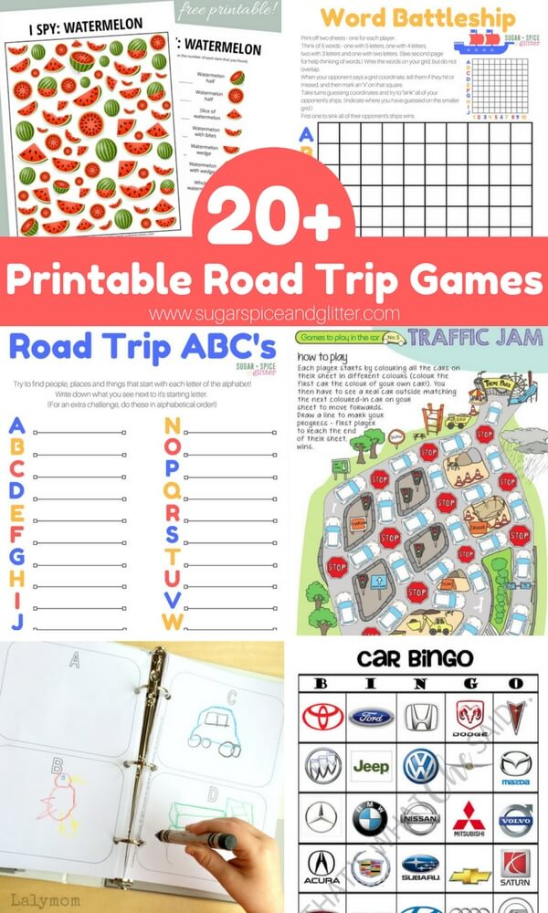 20+ Awesome Road Trip Games & Activities that you can print off for some easy travel entertainment. I love how compact printable games are - especially when you're tight on space. These are perfect for entertaining kids in the car, on plane rides, etc