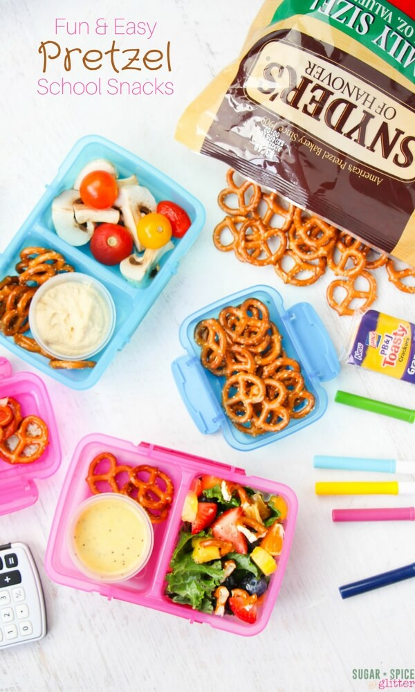 These Fun & Easy Pretzel School Snacks range from the completely unexpected to the comfortable and familiar. Add some savoury crunch to your school lunch box!