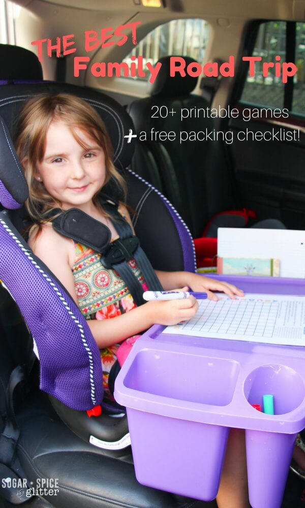 Tips from a well-traveled mom on how to make family road trips enjoyable - plus printable packing list and 20+ printable road trip games