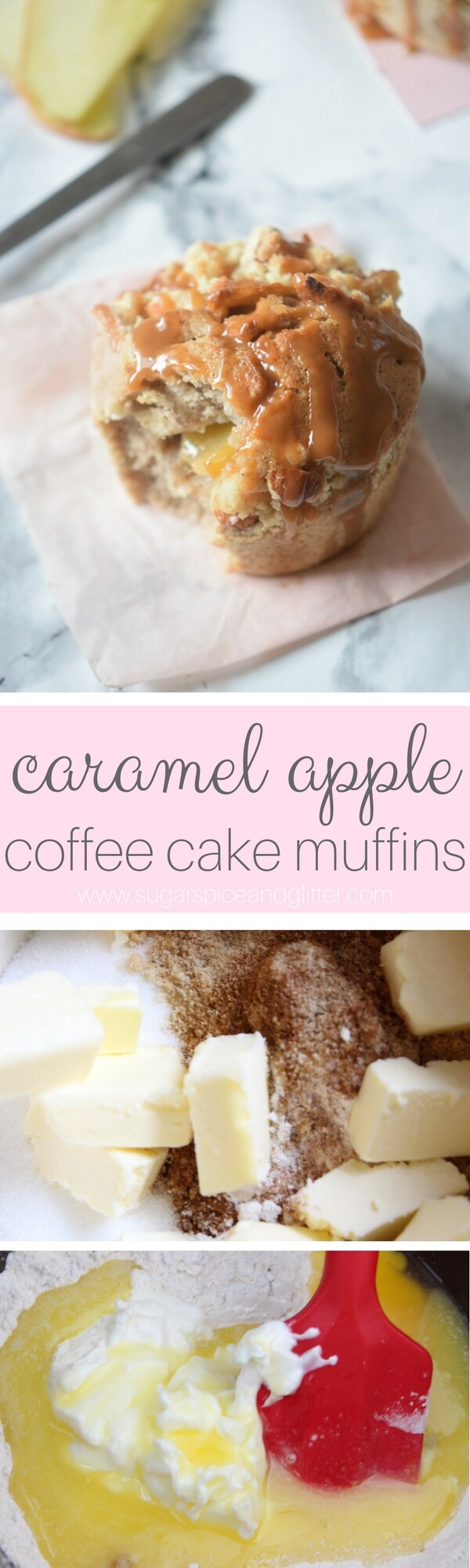 Apple Coffee Cake Muffins with a crumb topping, fresh apples and salted caramel sauce - this is one decadent fall dessert!