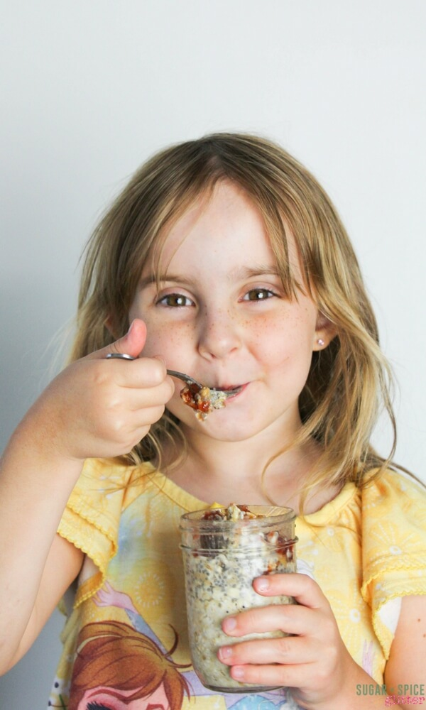 Kids love this delicious PB&J Overnight Oatmeal Recipe