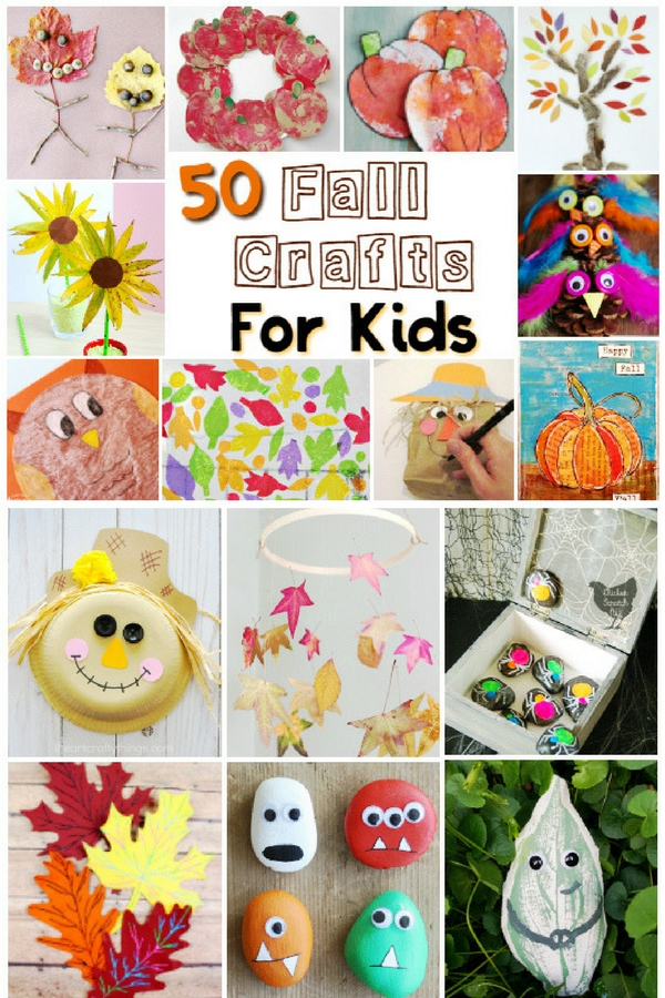 50 Fall Crafts for kids that kids can actually do! No more Pinterest-perfect crafts that only look good if an adult does them, these fall crafts are great for mixed age groups and involve no special craft supplies or materials