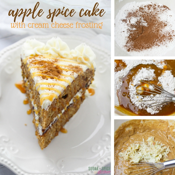 How to make an easy apple spice cake recipe with fresh apples, cream cheese frosting and caramel sauce