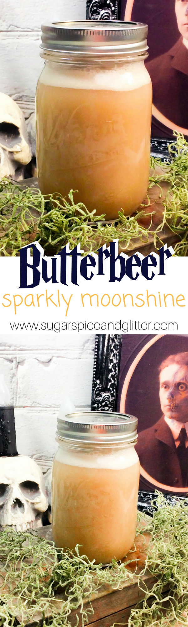 How to make Sparkly Moonshine at home. A DIY Alcoholic Butterbeer recipe that makes the perfect gift for a Harry Potter fan