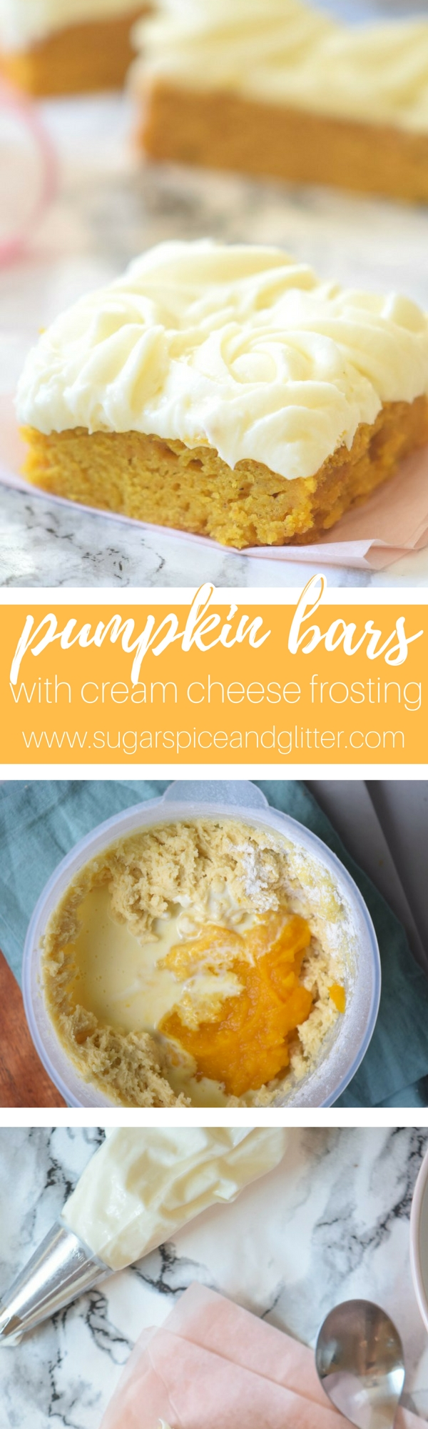 Pumpkin Bars with Cream Cheese Frosting - a soft and dense pumpkin slab cake with melt in your mouth cream cheese frosting