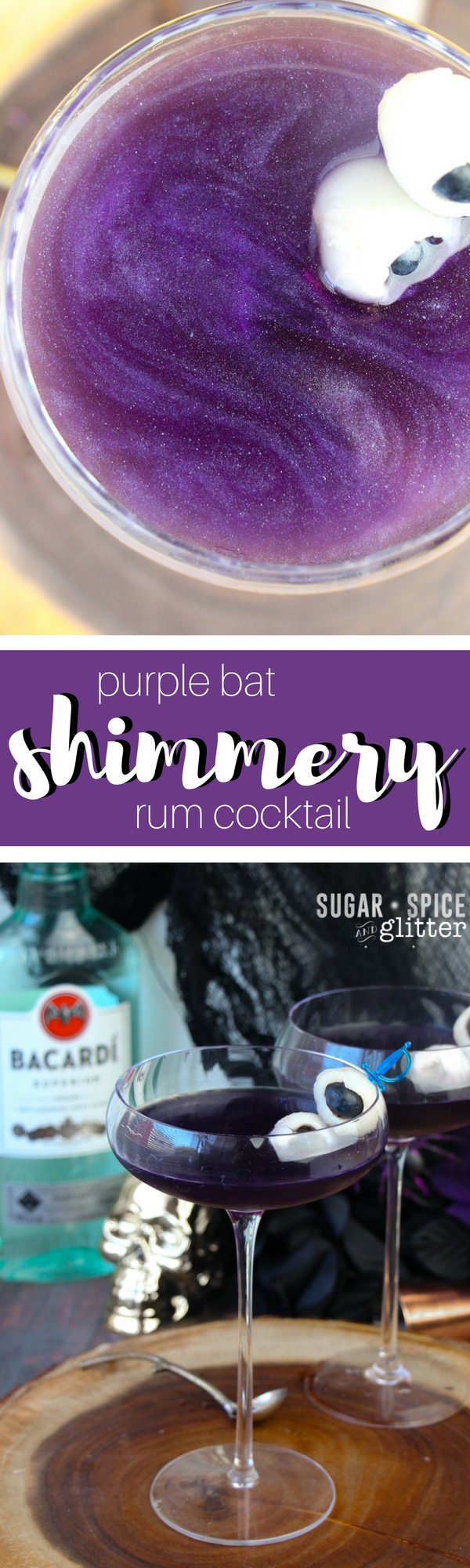 A gorgeous shimmery rum cocktail that is simply mesmerizing. It looks almost like a starry night sky - and for a spooky Halloween touch, add two fruit eyeballs!