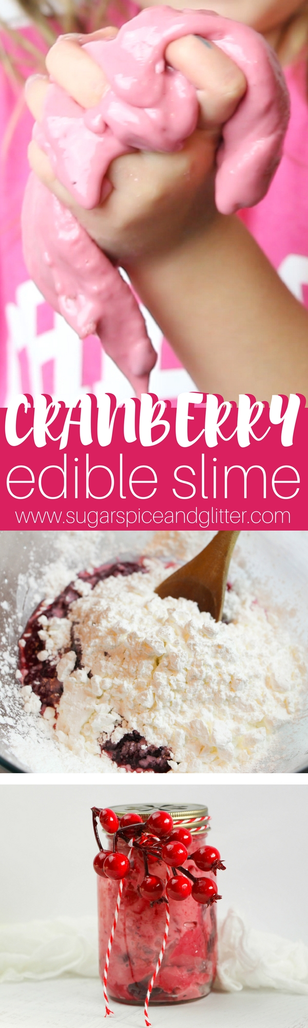 An easy edible slime recipe that your kids will love! A Christmas cranberry slime with just two ingredients, this safe slime is great for all ages