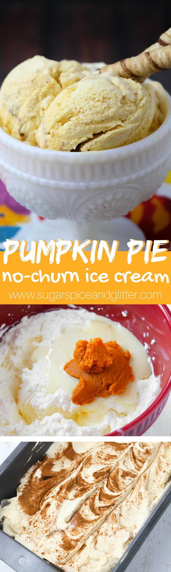 No-Churn Pumpkin Pie Ice Cream that's easier than pie! This easy homemade ice cream can be whipped up in less than 10 minutes without an ice cream machine, making it the perfect low-fuss Thanksgiving dessert