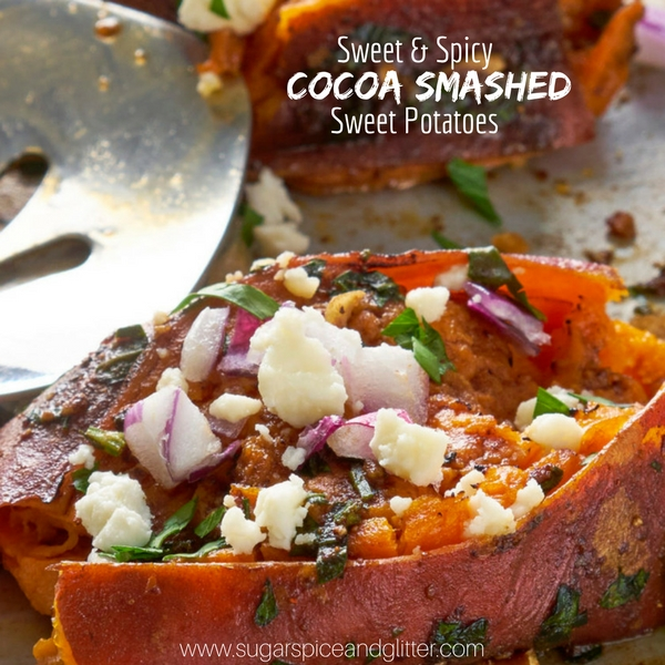 Sweet and Spicy Smashed Sweet Potatoes baked with delicious toppings