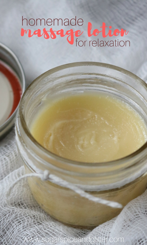 Homemade Massage Lotion for relaxation massages - a thoughtful homemade gift made with essential oils