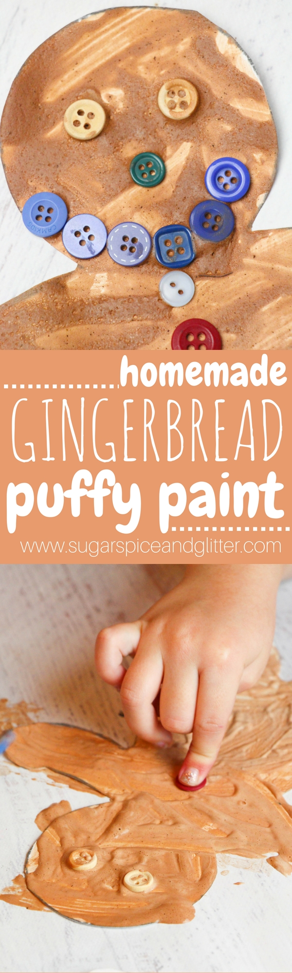 Gingerbread Puffy Paint - a deliciously scented homemade puffy paint for kids. Turn art into a multi-sensory experience - color, texture and scent. Use this paint to make beautiful holiday art, cards, puffy gingerbread houses and more!