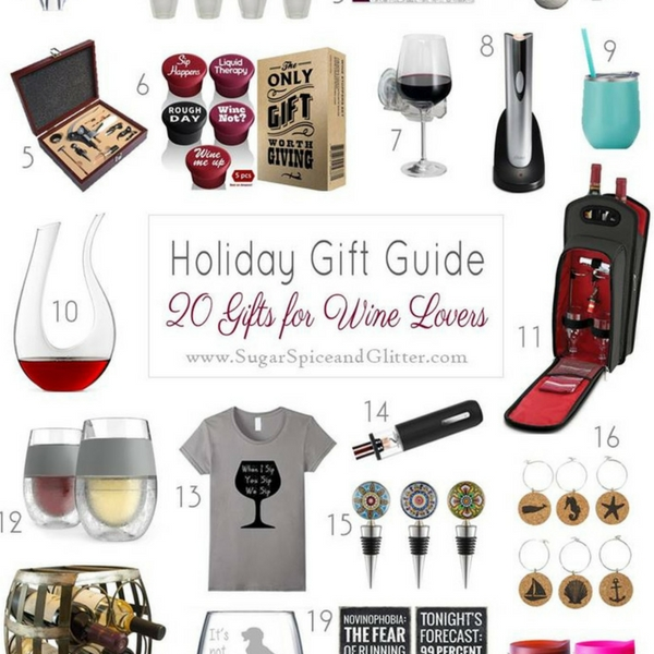 The perfect gifts for the wine lovers on your list. Everything from stoppers, to decanters, and wine storage