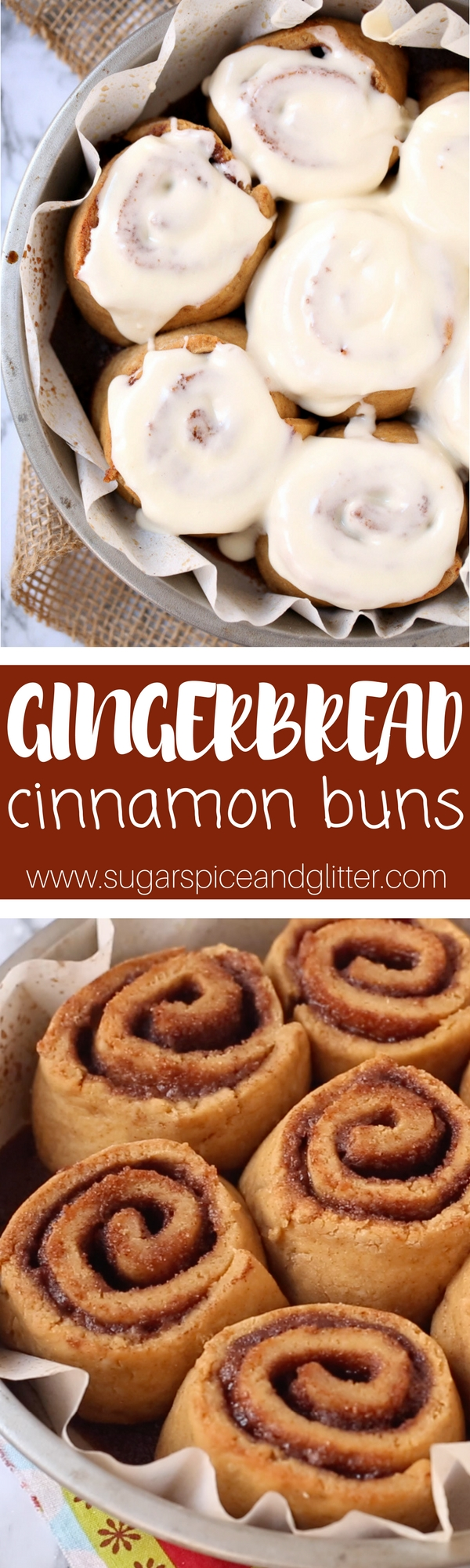 These homemade gingerbread cinnamon buns taste like Christmas! The perfect recipe for Christmas breakfast, these homemade sweet rolls have all of the flavor of a gingerbread cookie incorporated into fluffy, perfect cinnamon buns. Christmas brunch will never be the same!
