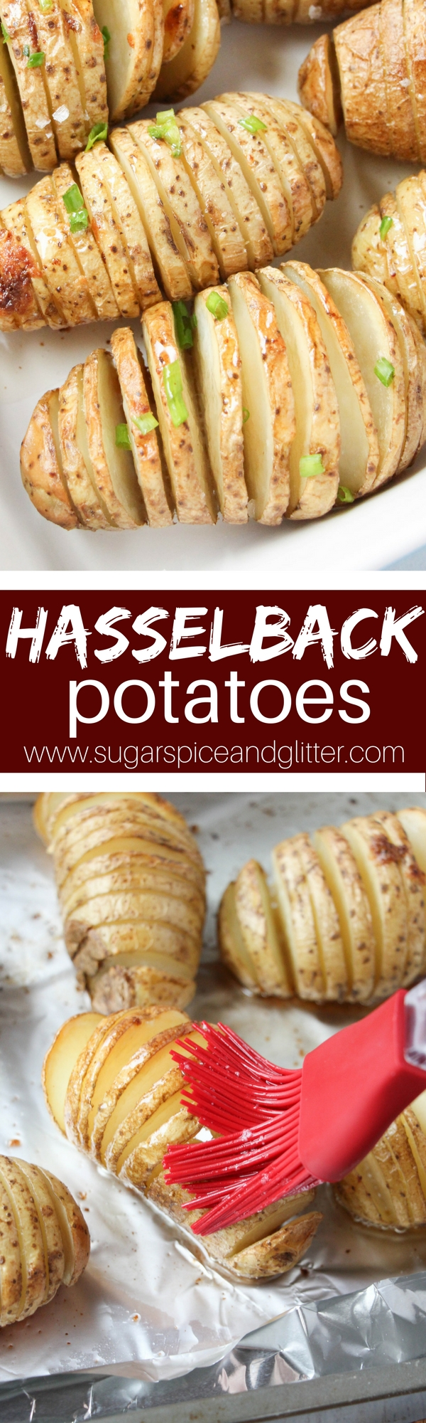 Easy baked Hasselback Potatoes are crispy yet just a bit tender with a buttery taste that is the perfect hybrid between a potato chip and mashed potato, if you've never had Hasselback Potatoes, you are majorly missing out!