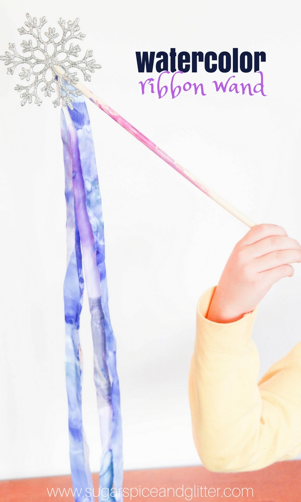 An awesome winter process art activity for kids, this watercolor ribbon wand is a beautiful winter craft for kids that would also be great for a Frozen birthday party.