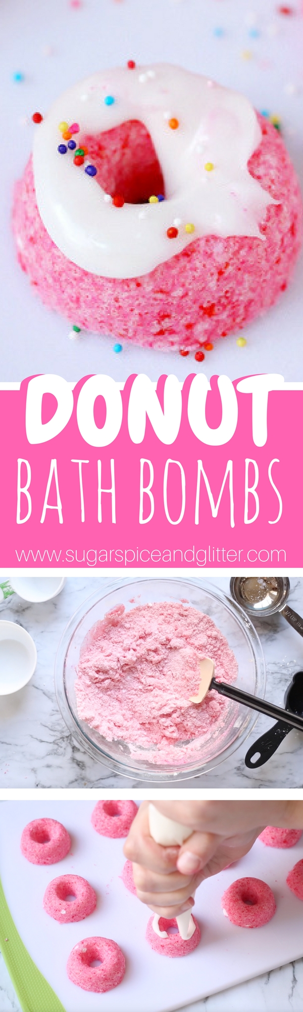 Delicious-smelling DIY Bath Bombs for a homemade gift idea with a bit of whimsy. A perfect homemade birthday gift or non-edible Valentine