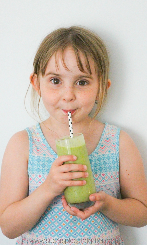 A delicious kale smoothie that kids love - an easy way to get kids to drink their vegetables!