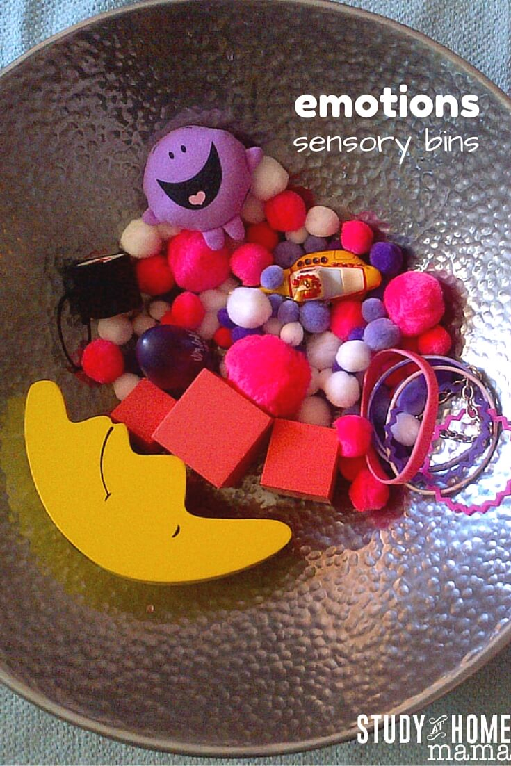 Emotions sensory bins for teaching children about emotions and emotional regulation. Learn the names of emotions and associate them with items that arouse those feelings.