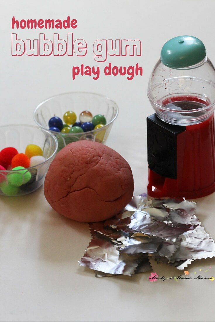 Homemade bubble gum play dough - a fun candy play dough invitation perfect for Hallowe'en, or after reading Willy Wonka & the Chocolate Factory