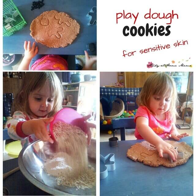 Easy homemade play dough recipe for chocolate chip play dough cookies, using coconut oil, oats, and cream of tartar to help soothe sensitive skin while having fun playing bake shop