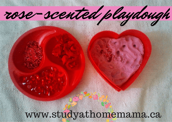 Rose-scented Play Dough at Study-at-Home Mama #valentines