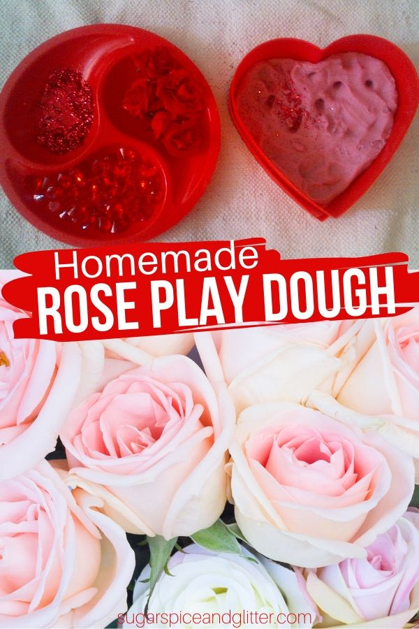 A floral-scented play dough perfect for Valentine's Day. This Rose Play Dough is taste-safe and smells like a bouquet of roses.