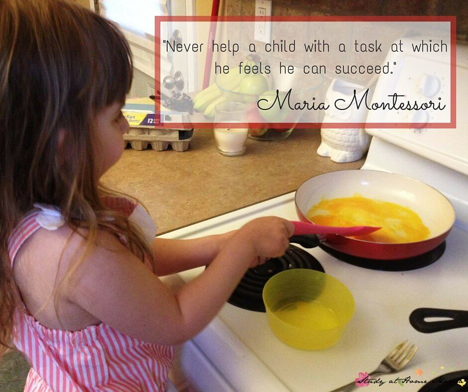 Never help a child with a task at which he feels he can succeed. Maria Montessori quote
