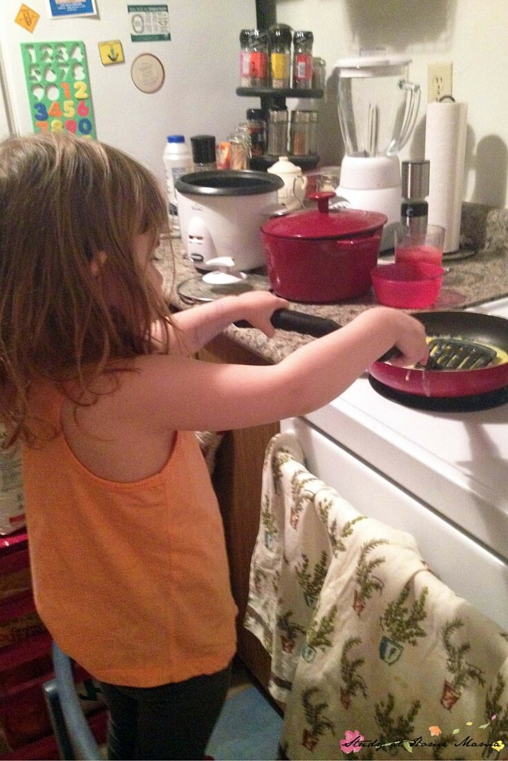 Cooking on the stove with a toddler? This is real Montessori parenting