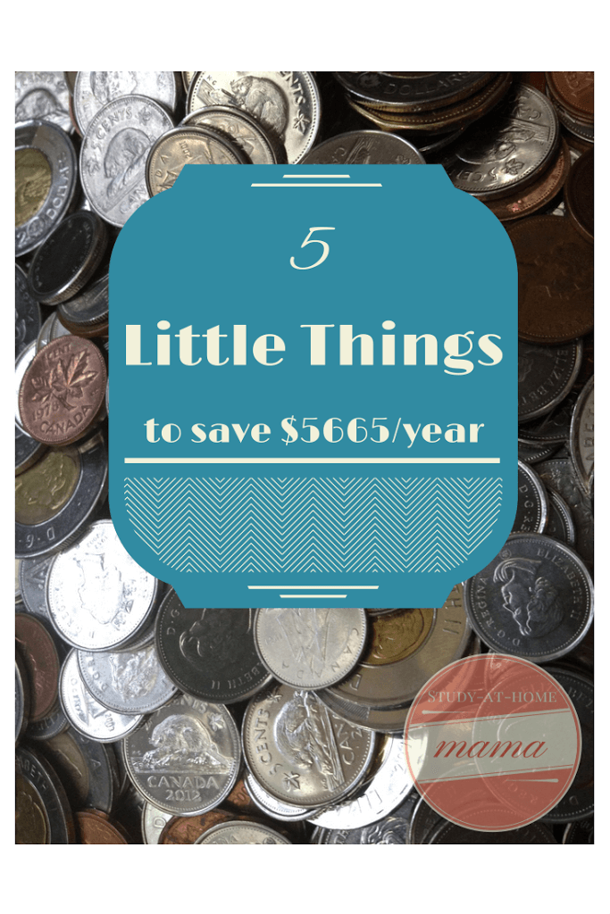5 Little Things to Save $5665/year on Study-at-Home Mama #frugal #savemoney
