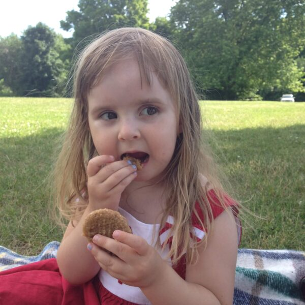 Enjoying Peanut Butter Maple Cookies on Canada Day