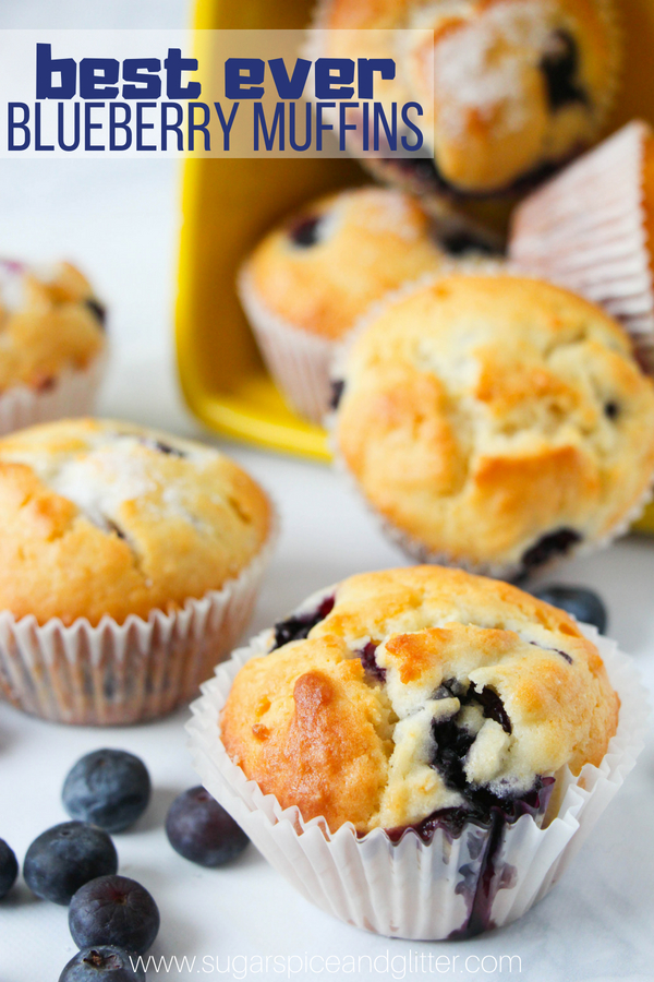 These easy blueberry muffins are light and fluffy with golden, crunchy tops - the perfect muffin recipe for kids to make, a fresh blueberry dessert that is equally perfect for brunch or lunch boxes
