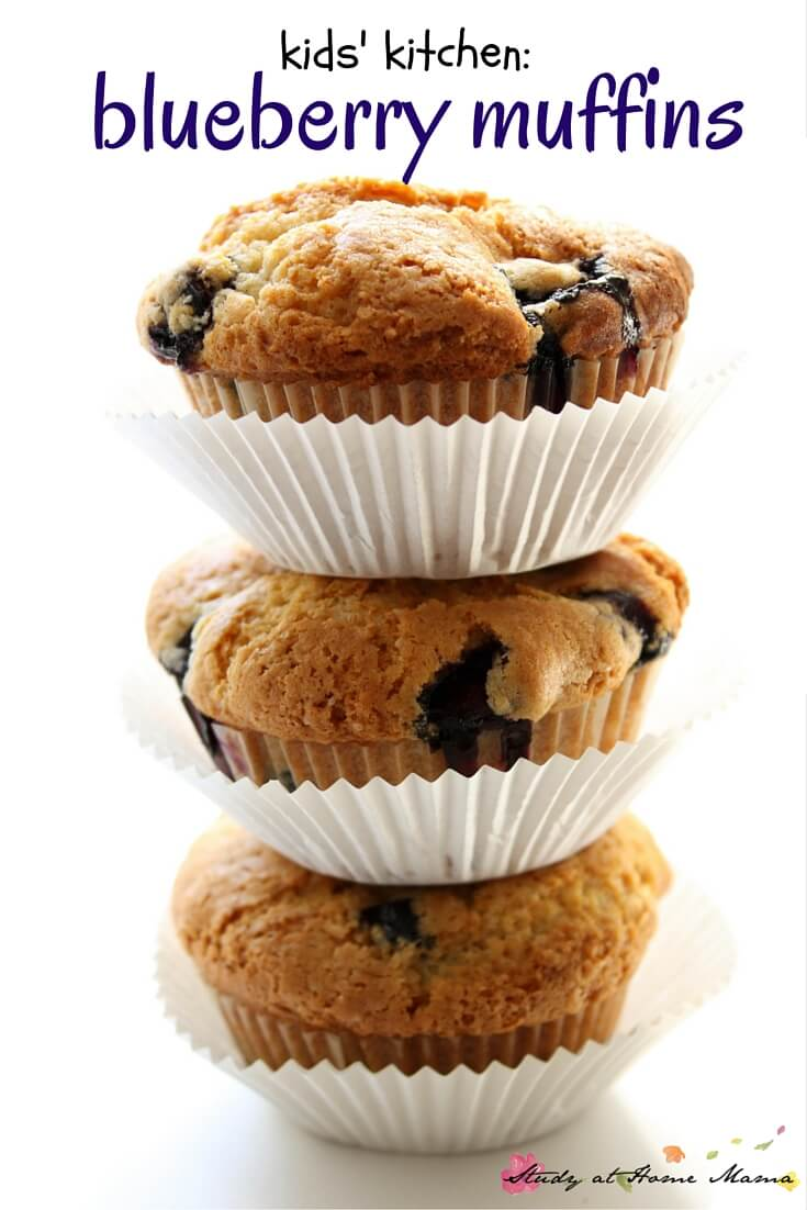 An easy healthy blueberry muffin recipe that the kids will love helping to make as much as they will love eating them! Sugar is replaced with maple syrup to healthy and delicious results