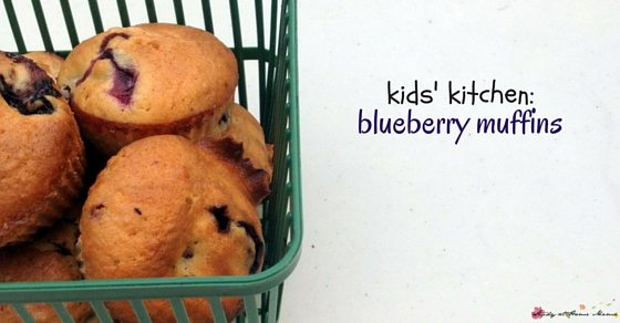 Kids' Kitchen - an easy healthy recipe for blueberry muffins that the kids will love making as much as they love eating them!