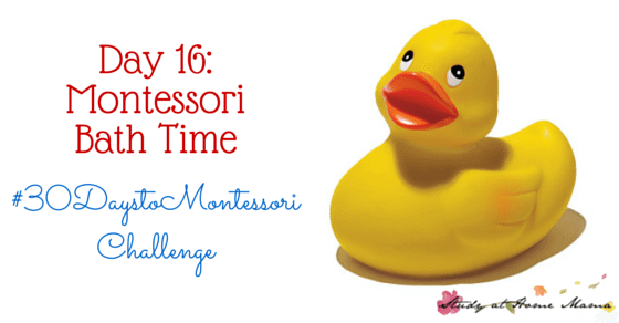 Megan Sheffield from Milkweed Montessori guest posts on how to incorporate Montessori ideas into Bathtime. How to teach toddler self-care in the bath as part of the #30daystoMontessori challenge