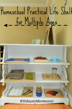 Homeschool Practical Life Shelf for Multiple Ages