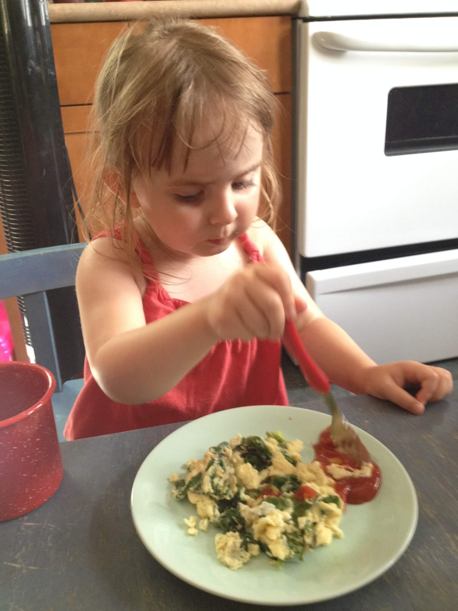 healthy green eggs for kids in the kitchen