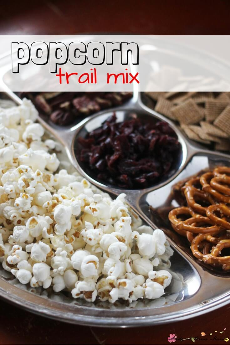 Popcorn trail mix - a fun snack for kids to assemble and enjoy. Perfect for a low-key party or movie night