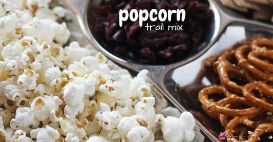 Popcorn trail mix - a great lunch box idea or easy snack tray for kids.