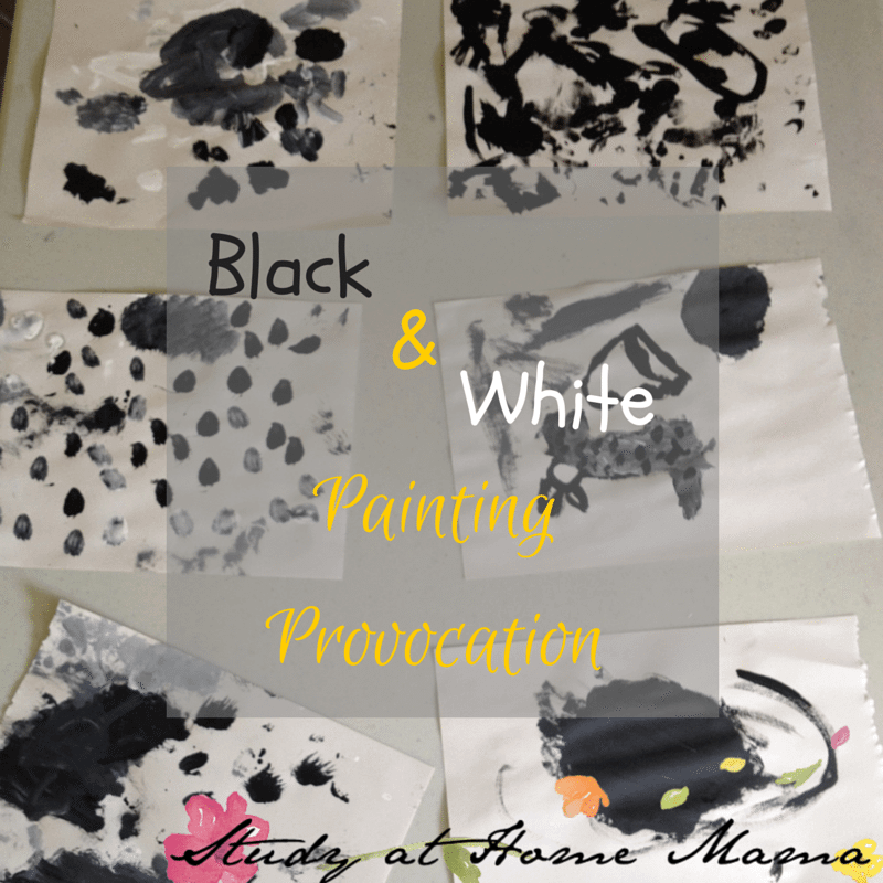 Black and white painting provocation - Reggio art provocation