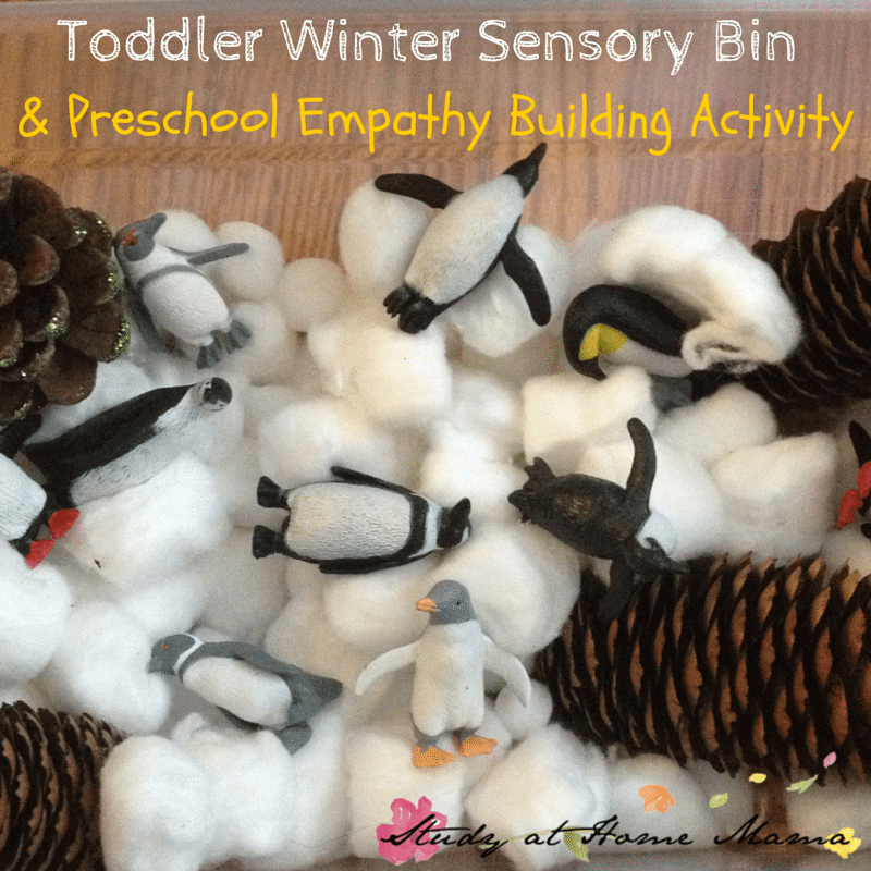 Toddler Winter Sensory Bin & Preschool Empathy Building Activity