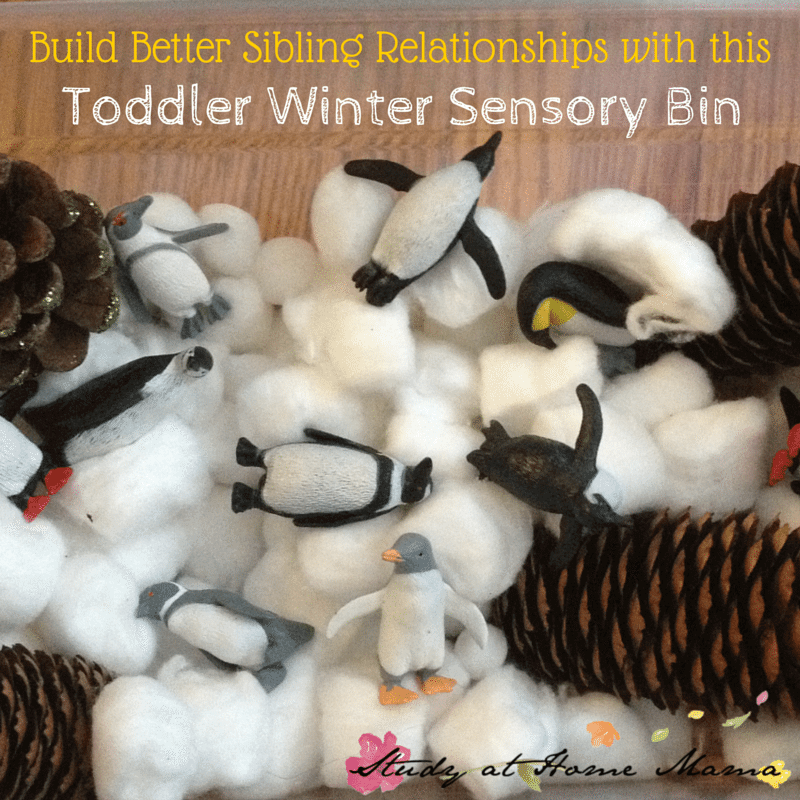 Build Better Sibling Relationships with this Toddler Winter Sensory Bin