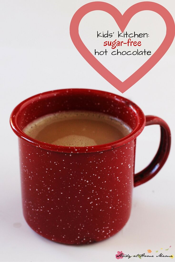 Healthy hot chocolate recipe with only 4 ingredients and a kids' kitchen recipe printable. This winter recipe is sugar-free and made with whole food ingredients.