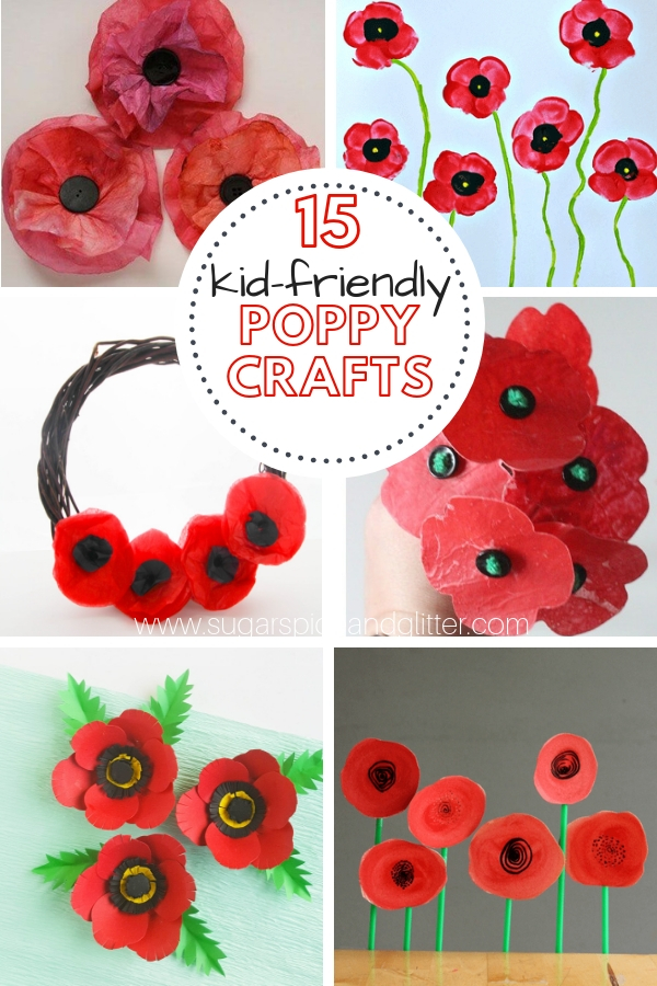 A gorgeous assortment of poppy crafts for kids for Remembrance Day or Veteran's Day. Lest we forget