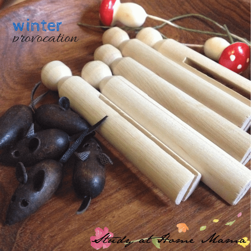 winter provocation using wooden and felt objects