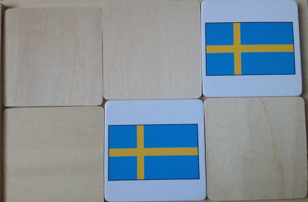 Matching Scandanavian flags as part of a Frozen preschool unit study