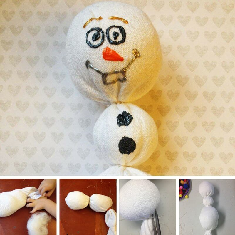 Frozen kids' craft idea: Olaf Sock Puppet, made for less than $1 each! These Olaf sock dolls make excellent snuggle buddies, or gifts for the Frozen fan in your home