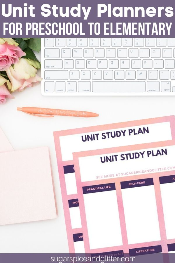 Free Montessori-inspired unit study planners plus tips on how to plan a balanced unit study - for preschoolers to elementary-aged kids.